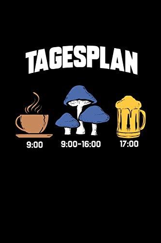 Tagesplan: Dotted Punkteraster Notizbuch A5 - Pilzsammler Notizeft I Kaffee Pilze sammeln Bier I Hobby Mushroom Geschenk