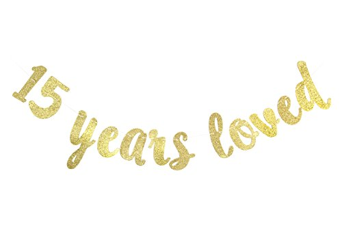 15 Years Loved Banner - Happy 15th Birthday/Wedding Anniversary Party Decorations