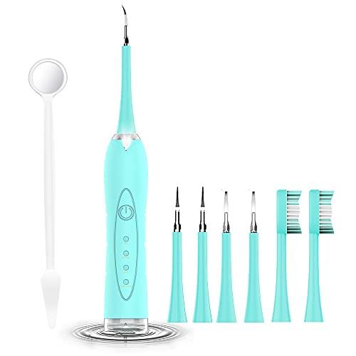Limpieza Dental de Limpieza Blanquea Kit de Limpieza Bucal Kit de Limpiador Dental de quita Obstinado Manchas Dientes- 4 * Cabezales de Limpieza, 2* Cabezales de Cepillo de Dientes, 1* Espejo Dental