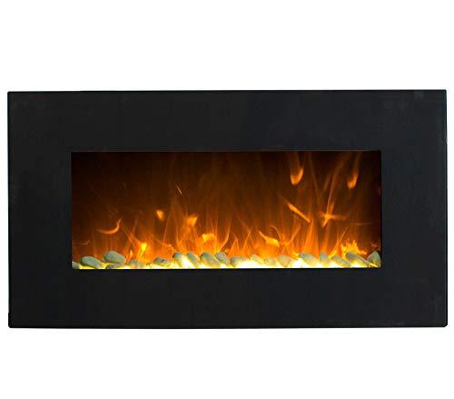 GLOW FIRE Neptun Elektrokamin mit Heizung, Wandkamin mit LED   Künstliches Feuer mit zuschaltbarem Heizlüfter: 750/1500 W   Fernbedienung, 84 cm, Schwarz, Kieselsteindekoration