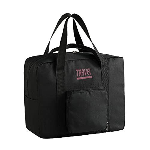 Sac de voyage pliable pour voyage, sac fourre-tout de nuit avec poignée à roulettes, sac de week-end, sac de voyage étanche pour articles personnels, Noir , grand,
