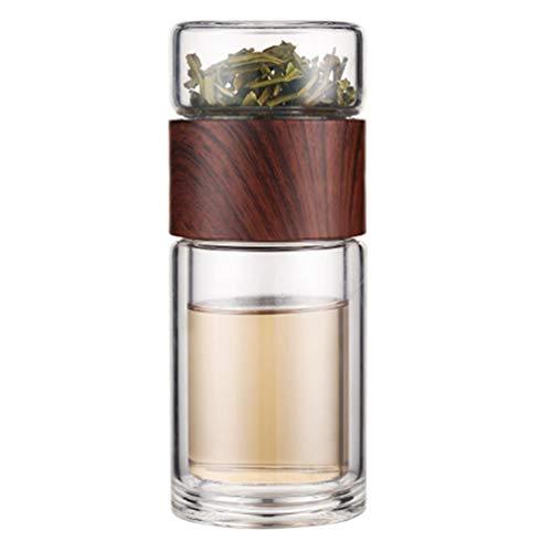 Hemoton Glas Tee Aufguss Doppelwandig Glas Becher Wasserflasche Getränke Becher Reisebecher Tee Becher Flasche für Loseblatt Tee, Obst, 300Ml