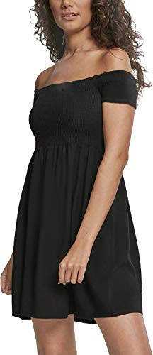 Urban Classics Damen Ladies Smoked Off Shoulder Dress Kleid, Schwarz (Black 00007), 38 (Herstellergröße: M)