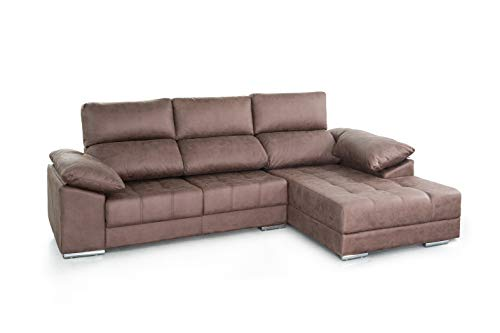 SWEET SOFA - Sofá Chaiselongue Córcega, 4 plazas, con Asiento Deslizante desenfundable en Tela Antimanchas Color marrón. (Chaise Longue Izquierda, Marrón) (Chaise Longue Derecha, Marrón)