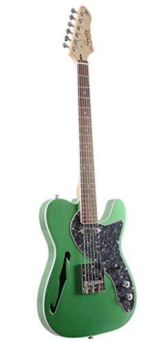 Firefly FFTH Semi-Hollow body Guitar Green color .(Black pearloid pickguard).
