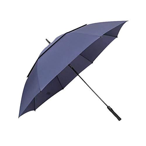 Geschenk-Werbe-Regenschirm Doppelgolf-Regenschirm-Scharfschützestoff Vollfaser-Stange gerade Griff atmungsaktiver Regenschirm, blau