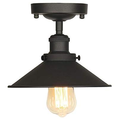 AILIN Industrial Vintage Metal Semi Flush Mount Ceiling Light Fixtures, Edison Style Hanging Lights, Farmhouse Lighting Classic Black Metal Pendant Lighting Shade 1-Light