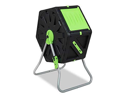 Garden Point Trommelkomposter 70 l | Mit Belüftungsöffnungen | Aus Polypropylen und Edelstahl | Für den ganzjährigen Gebrauch | UV-Schutz | 74 x 60 x 34 cm