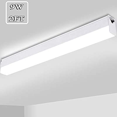 Sararoom 2ft Linkable LED Shop Light Fixture, 9W T5 Integrated Single Fixture, 2100LM Hard-Wired Ceiling Light with 3 Switchable Color-Warm, Neutral, Cold White, No Memory Function