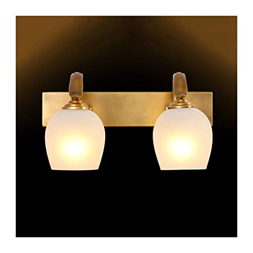 Lámpara Lámpara delantera de espejo Cuarto de baño americano Lámpara de gabinete espejo Lámpara de maquillaje Dormitorio de hotel Lámpara de pared Luces de baño (Color : Two heads)