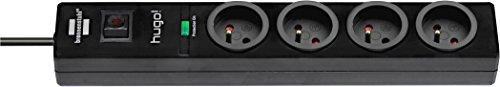 Brennenstuhl Steckdosenleiste mit Überspannungsschutz, 4Steckdosen, schwarz, 1150611604