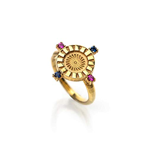 Honey Minx by Nicole Richie 14k Gold Plated Brass, Women's Radiant Sun Signet Ring with Colored Crystals (Ruby/Sapphire)