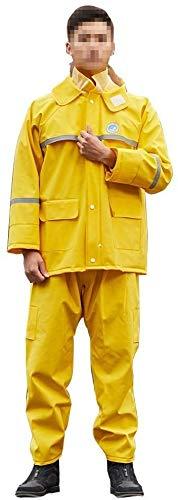 Regenjas regenbroek pak volwassen split regenjas motorrijden waterdichte ultra-dunne mannen buiten wandelen regenjas pak (Color : Yellow, Size : X-Large)