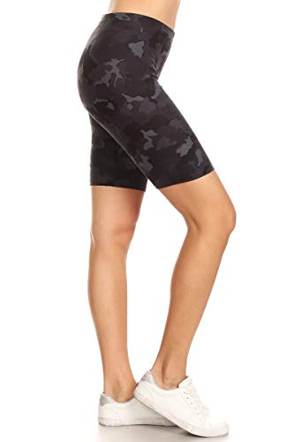 Leggings Depot LBK-S812-XL Gray Camouflage Printed Biker Shorts, X-Large