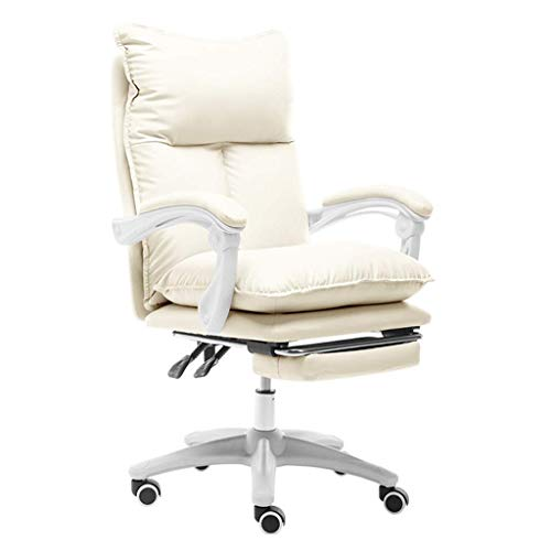 QNN Desk Chair,High Back Office Chair, White Chair with Armrest and Footrest Ergonomic Design Adjustable Seat Height Durable Adjustable Angle Recline