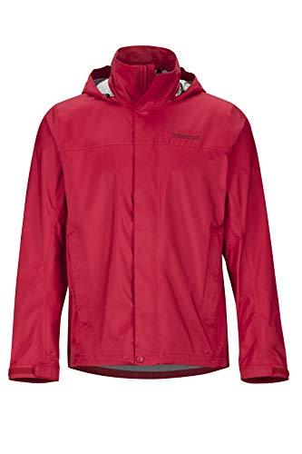 Marmot Men's PreCip Eco Jacket, Waterproof Jacket, Lightweight Hooded Rain Jacket, Windproof Raincoat, Breathable Windbreaker, Ideal for Running and Hiking, Team Red, L