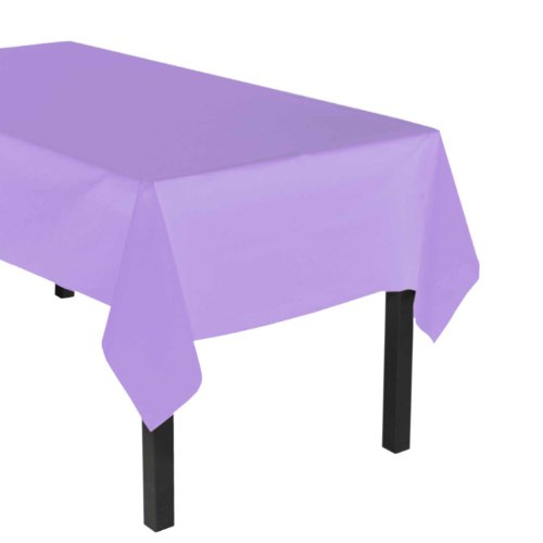 Party Essentials Heavy Duty Plastic Table Cover Available in 44 Colors, 54' x 108', Lavender