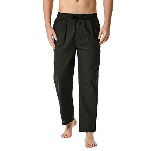 Sdeycui Pants for Men, Men's Cotton-Linen Loose Casual Lightweight Elastic Waist Pants Home Pants(Black, L)