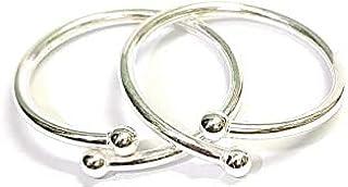 DARSHRAJ .925 Baby Bracelet Silver Sterling Silver Plain Solid New Born Baby Kada -1 Pair-Adjustable, (1-9 Month) (W-8.80gm)