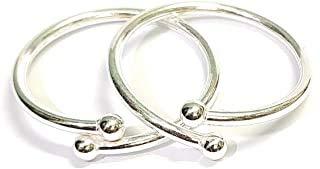 DARSHRAJ .925 Baby Bracelet Silver Sterling Silver Plain Solid New Born Baby Kada -1 Pair-Adjustable, (0-2 Year) (W-8.80gm)
