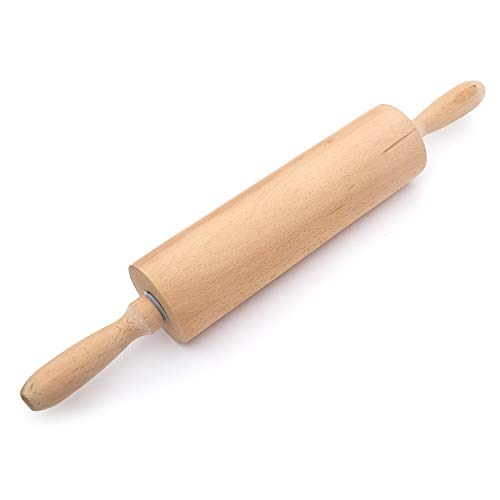Wooden Rolling Pin with Handles- Classic Kitchen Tool Best for Baking, Cooking Food, Making Cookies, Pie, Bread, Pizza, Pastry, Tortillas, Pasta- Made of Durable Beech Hardwood For Long Lasting Use