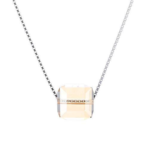 HWADMW S925 Sterling Silver Aurora Cube Collar de azúcar Mujer Simple Moda Champagne Crystal Clavicle Chain S925 Sterling Silver Small Cube Sugar