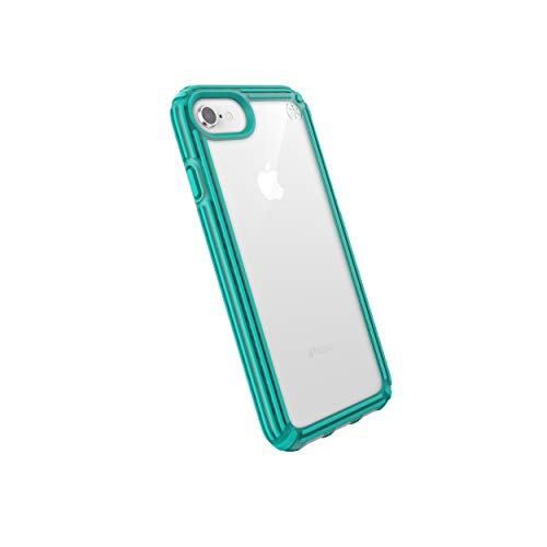 Speck Products Compatible Phone Case for Apple iPhone SE (2020)/iPhone 8, Presidio V-Grip Case, Clear/Caribbean Blue