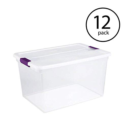 Sterilite 66-Quart Clear Plastic Latching Handle Nesting Storage Container Tote, 12 Pack