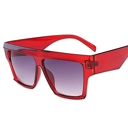 Gafas Gafas de sol de plástico de lado ancho marco cuadrado Ladies Moda Gafas de sol Femenino Rana Espejo-Vino rojo