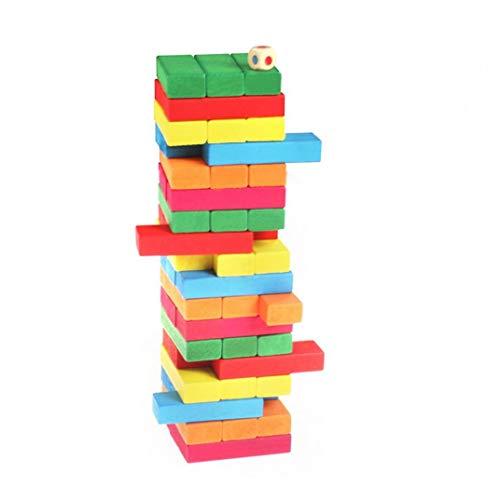 54pcs Dominó Dominó Juego De Apilamiento De Juegos Para Niños Juego De Equilibrio De La Torre De Madera De Apilamiento Diversión Fiesta De La Familia Junta Juguetes Ideal Regalo