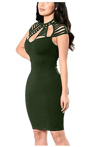 Price comparison product image Goddessvan Women's Sexy Sleeveless Hollow Out Cocktail Party Mini Bodycon Clubwear Dress (XL,  Army Green)