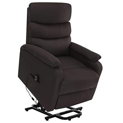 vidaXL Massagesessel mit Aufstehhilfe Heizung TV Sessel Fernsehsessel Relaxsessel Ruhesessel Polstersessel Liegesessel Lounge Dunkelbraun Stoff