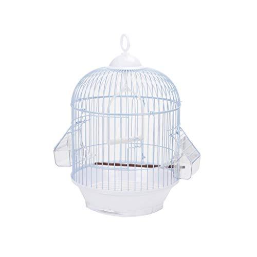 Cages à Oiseaux Suspendus Portables Rond Cage à Oiseaux Budgie Cage à Oiseaux Petit Canard Maison Cages pour Animaux de Compagnie, Blanc