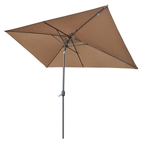 WJWJ Sombrillas Terraza Rectangular 2x2m,Sombrilla Parasol con Manivela,Parasoles Terraza Puede Inclinarse 60°,Protección Impermeable Y UV,Marrón