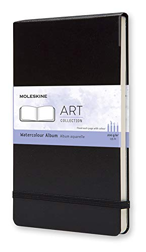 Moleskine Art Watercolor Album, Hard Cover, Large (5' x 8.25') Plain/Blank, Black, 72 Pages