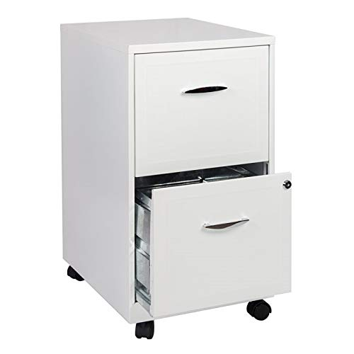 Scranton & Co 2 Drawer Steel Mobile File Cabinet in Pure White