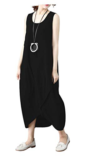 Ninmon Shares Women's Cotton Linen Solid Dress Casual Loose Irregular Dresses