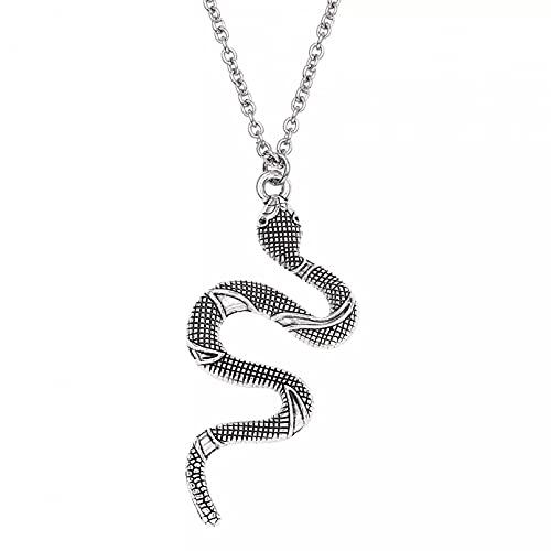 Collar Colgante Collar con Colgante de Serpiente Cobra Collar de Cadena de eslabones de Estilo Punk Collares Pendientes para Hombres y Mujeres Collar Amistad Aniversario San Valentín Regalo