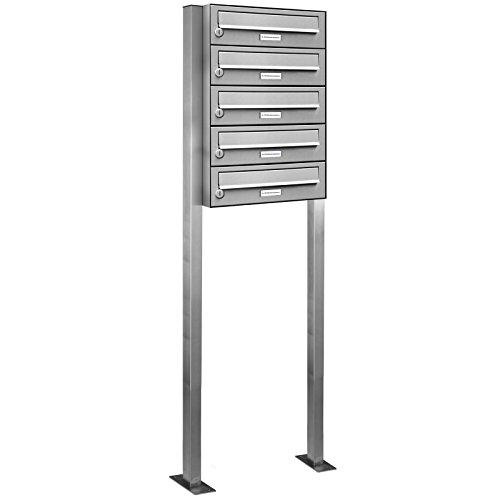 AL Briefkastensysteme 5er V2A Edelstahl Stand Briefkasten rostfrei als 5 Fach Briefkastenanlage Freistehend DIN A4 in Postkasten Design modern