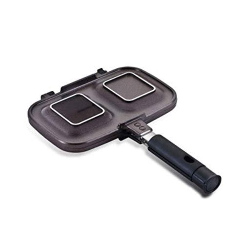 GZQDX Frying Pan, Nonstick Dubbele Pan, Dubbelzijdig Draagbare Antislip en Duurzame Aluminium Grill Pan,voor Langzaam Geroosterde Groenten, Steak, Vis
