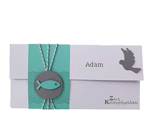 Gutschein- oder Geldgeschenkverpackung Kommunion - Konfirmation - Taufe, Weiß-Mint-Grau mit Fischen - Geschenkverpackung - personalisiert