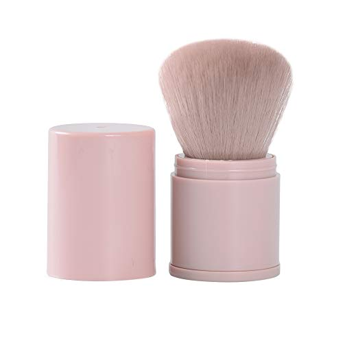 Retractable Kabuki Makeup Brush Powder Brushes Face Brush Foundation Travel Foundation Brush for Blush Bronzer & Powder (Pink)