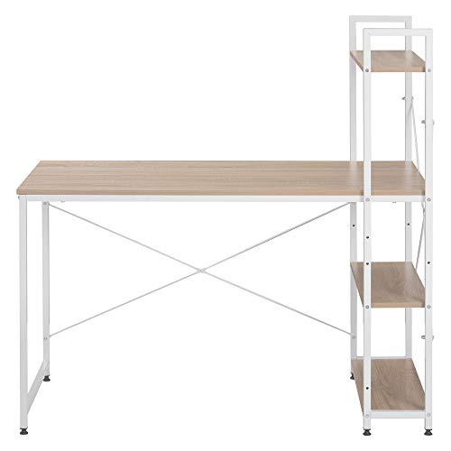 Escritorio de ordenador con 4 estantes de almacenamiento con estantería para espacios pequeños en casa, oficina, estación de trabajo, color natural
