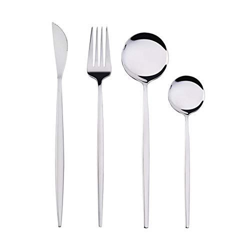 OUDEING Set De Cubiertos De 6 Piezas Conjuntos de Cubiertos de 24 Piezas, 6 x Tenedores y 6 x Cuchillos de Cena y 6 x cucharas de Cena, 6 x cucharaditas, Fino Pulido-Plata 16pcs