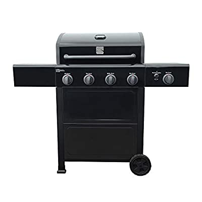 Kenmore PG-40406SOL-1-AM 4 Open Cart Grill with Side Burner, Black