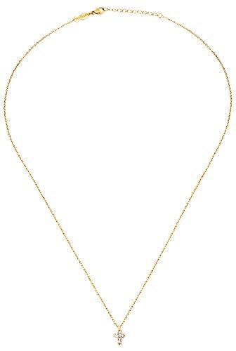 Collier Kreuz Mini Halskette Sterlingsilber vergoldet + Zirkonias hell 4/5 mm/ca. 42-45 cm lang + Geschenksäckchen