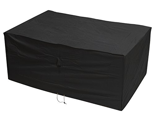 Woodside Heavy Duty Waterproof Rattan Furniture Set Cover Outdoor Garden Rain Cover, Black, L: 175cm x W: 115cm x H: 74cm, 5 YEAR GUARANTEE