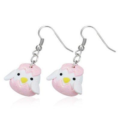 Boucles d'oreilles style manga poussin et coque rose