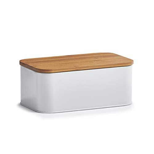 Zeller 25370 Brotkasten m. Bamboo Deckel, Metall, matt weiß, ca. 31 x 18 x 12,5 cm