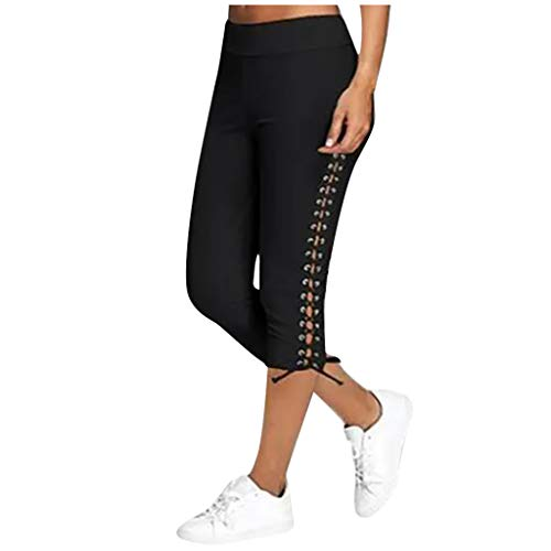 Capri Leggings for Women Plus Size Casual Summer Elastic Waist Cropped Pants Trousers Casual Sweatpants Black